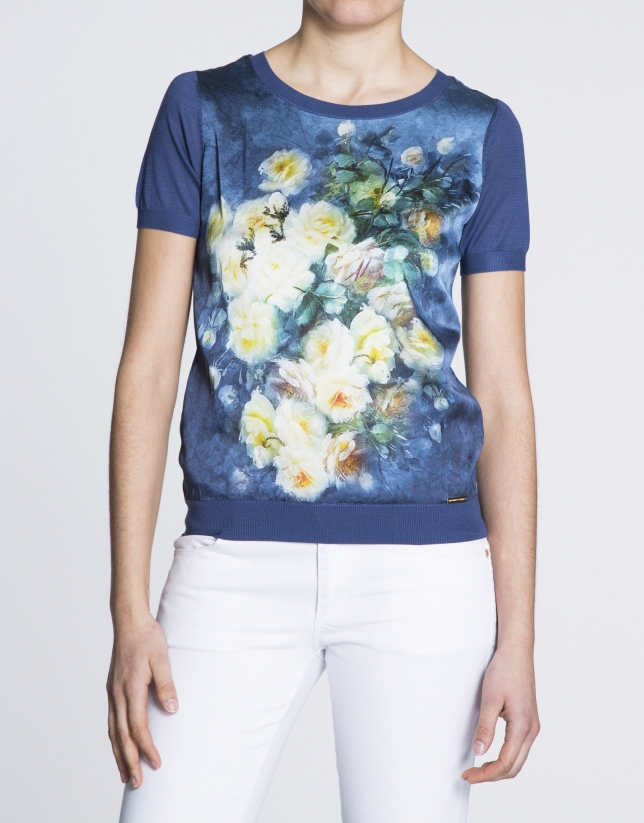 Klein blue floral print silk top