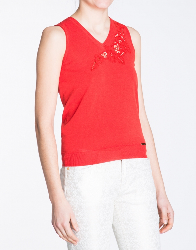 Geranium red V-neck top with embroidery