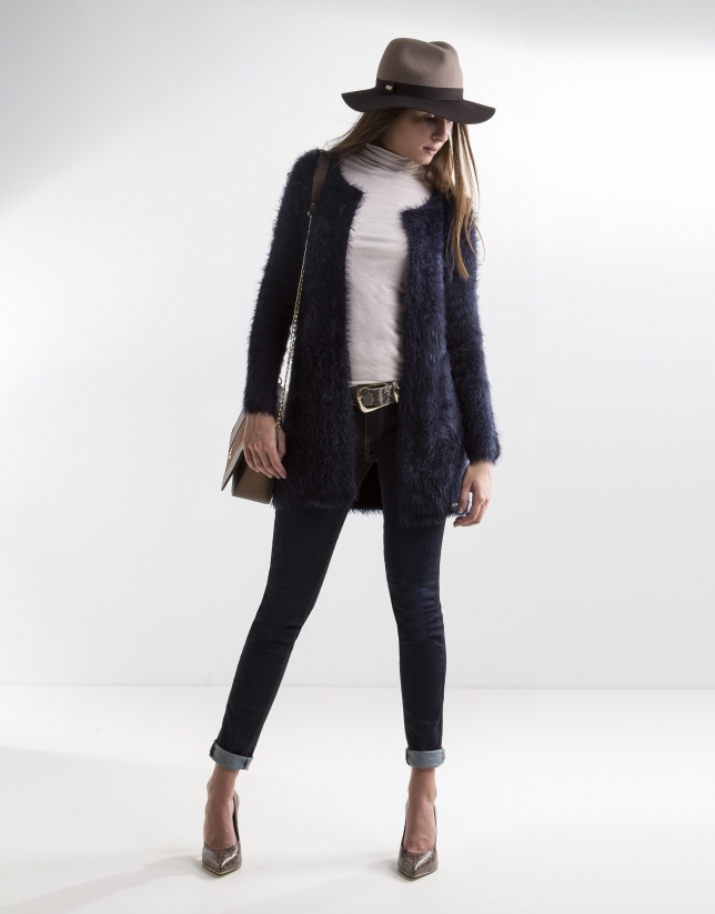 Long blue knit jacket