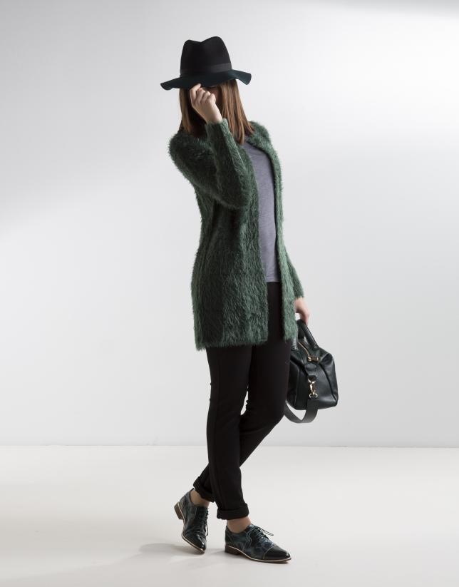 Long green knit jacket