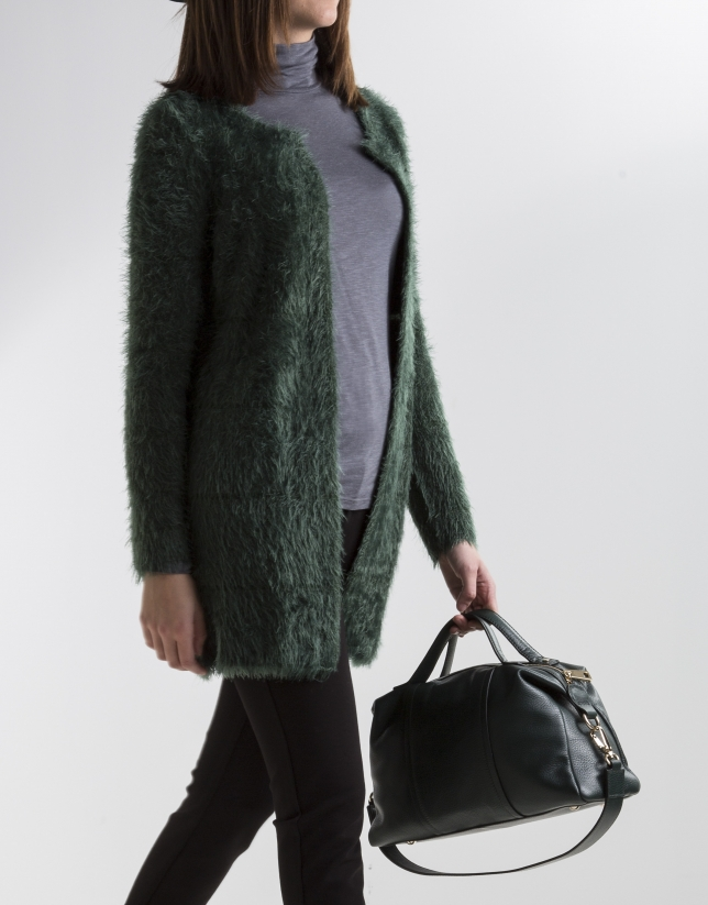 Long green knit jacket