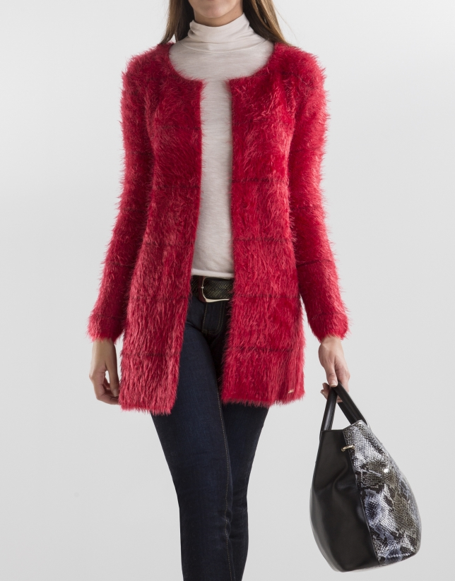 Long red knit jacket
