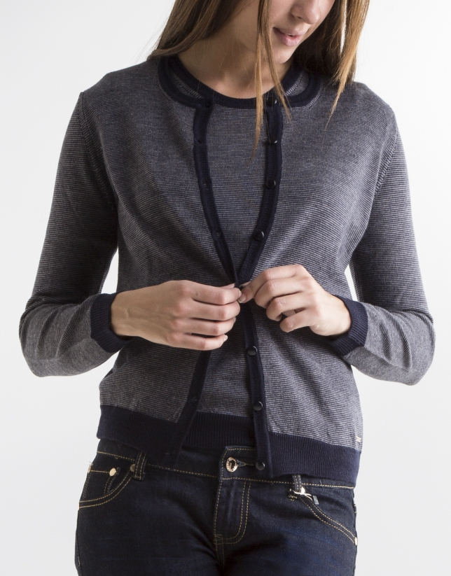 Short blue striped jacket