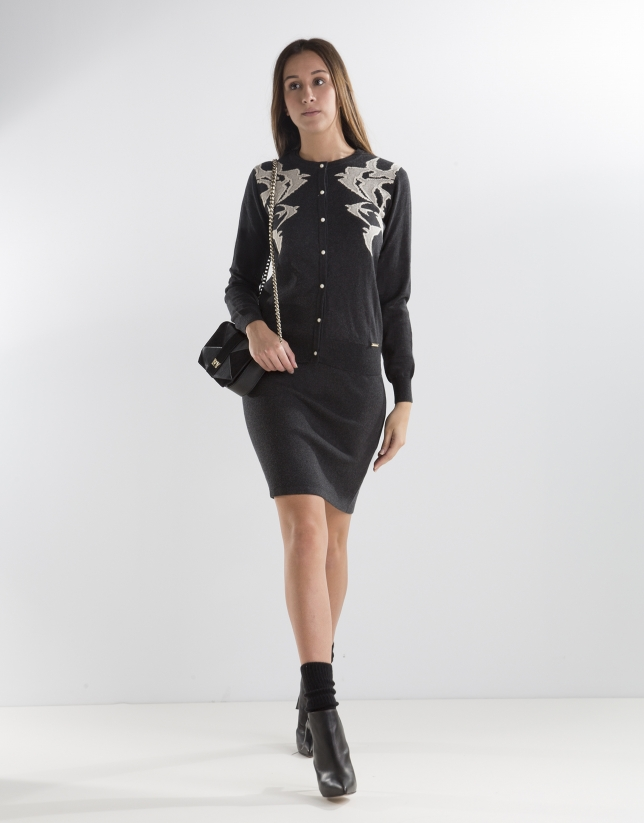 Short black print jacket