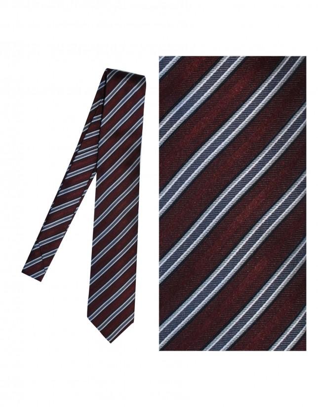 Red striped silk tie