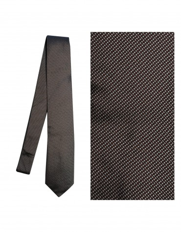 Brown white-square tie