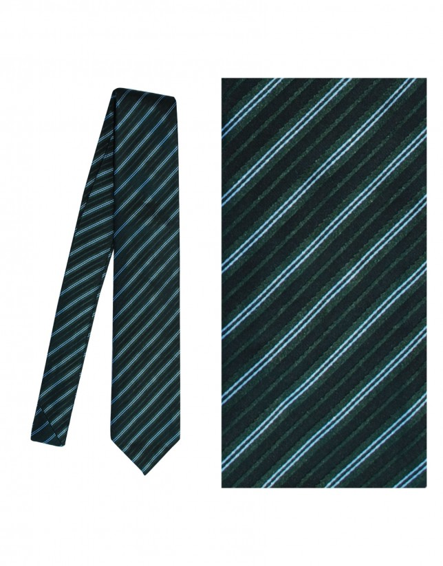 Green striped silk tie