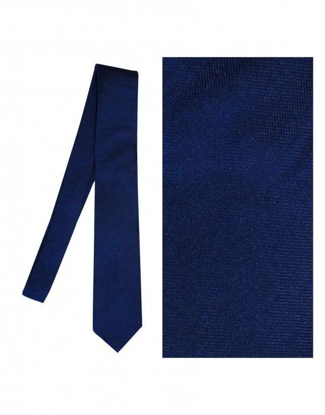 Solid light navy silk tie