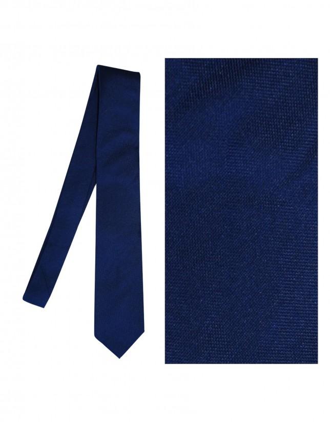Solid light navy silk tie