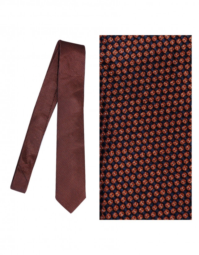 Burnt orange silk tie