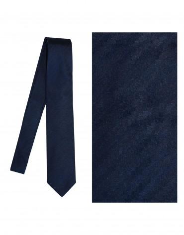 Dark blue herringbone tie