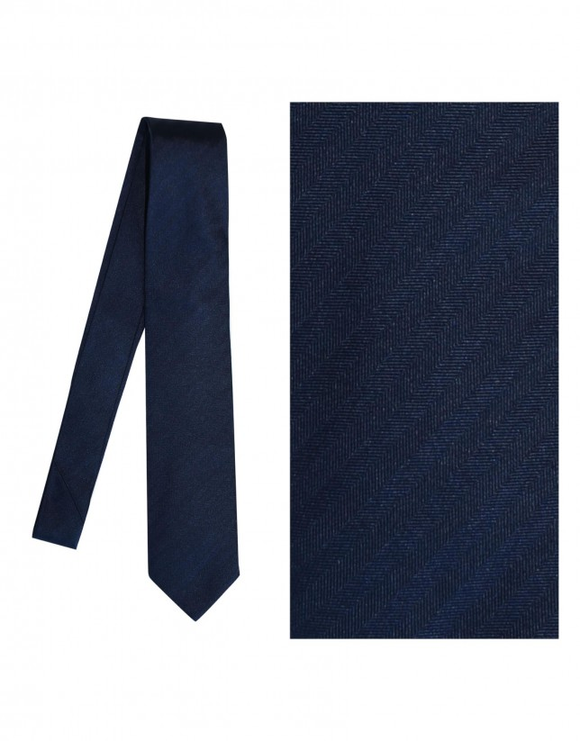 Dark blue herringbone tie