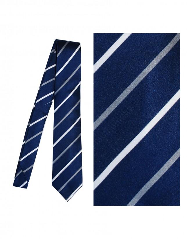 Dark blue silk tie