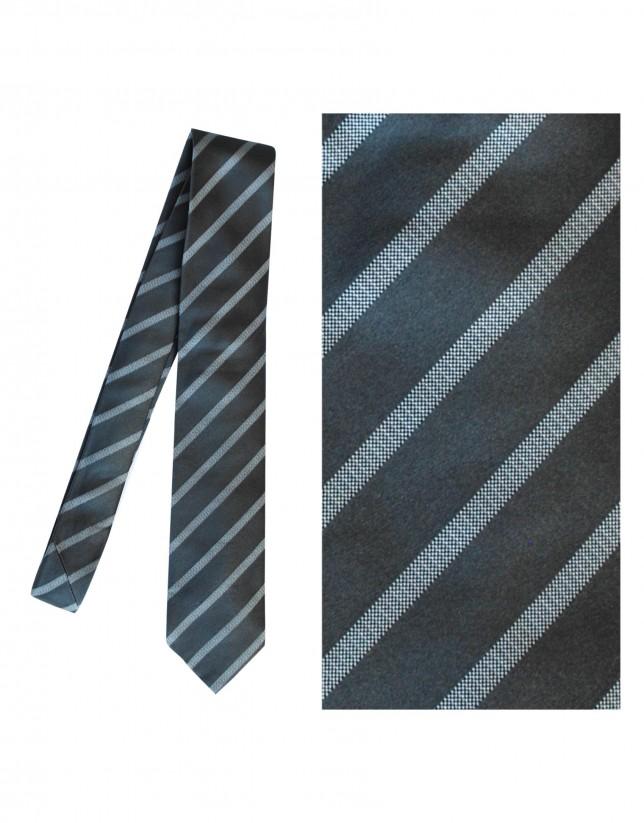 Charcoal grey silk tie