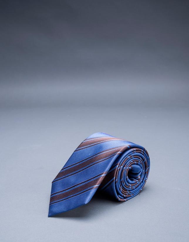 Corbata espiga rayas azul marrón