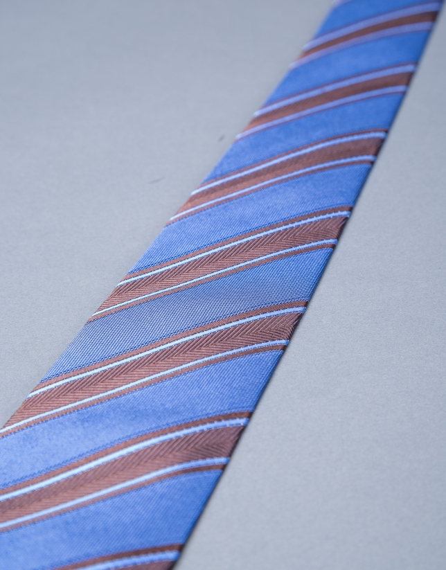 Brown  and blue striped herringbone tie