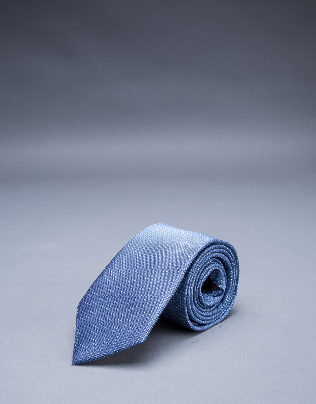 Blue and silver micro-dot tie