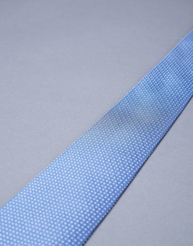 Corbata multipuntos plata azul