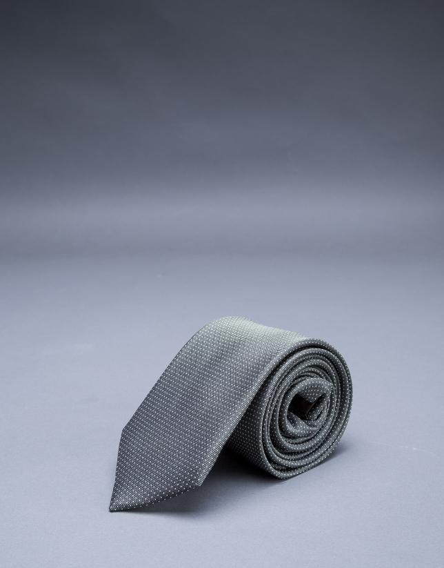 Corbata multipuntos plata kaki