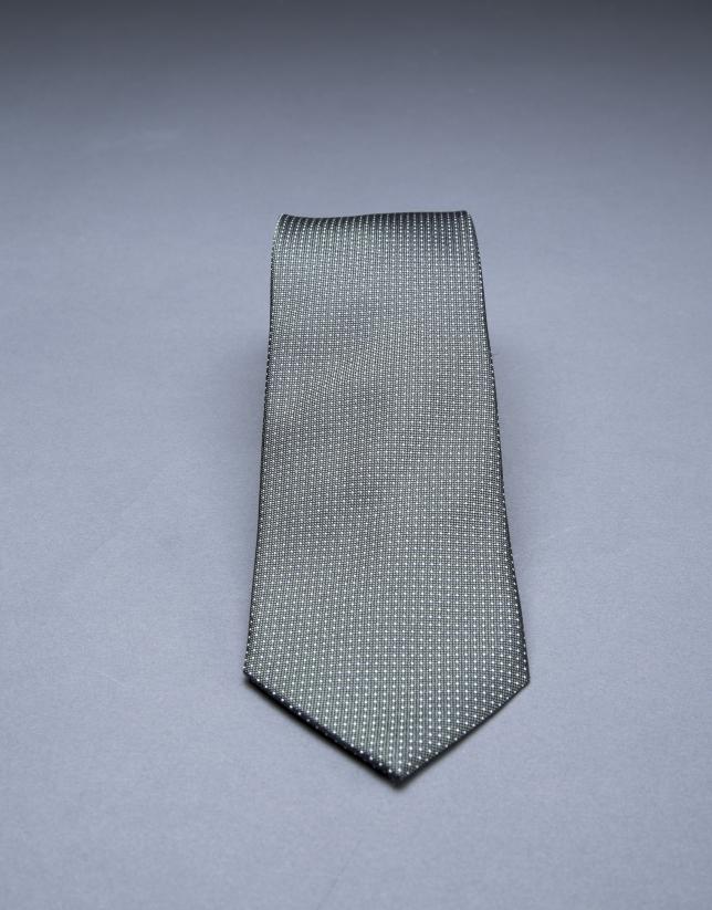 Cravate multi pois kaki argent