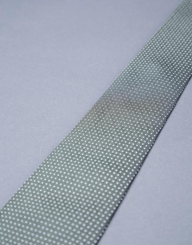 Khaki - silver micro-dot tie