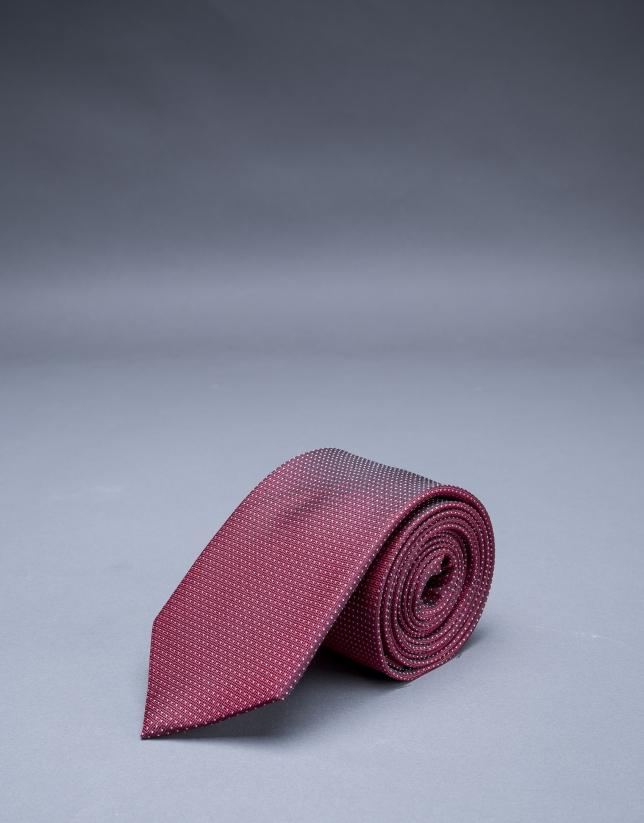 Cravate multi pois grenat argent
