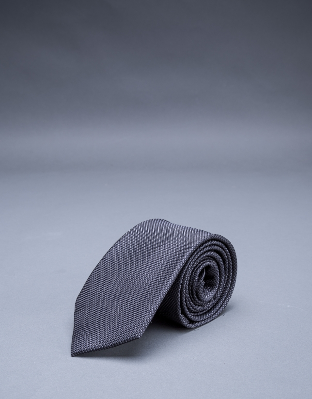 Gray micro-print tie