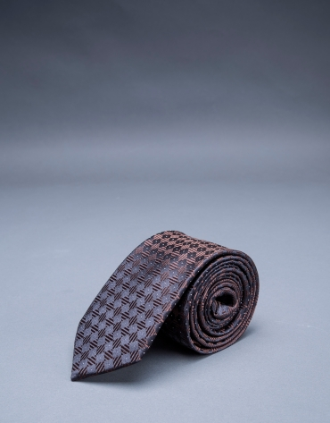 Brown - navy blue motif tie