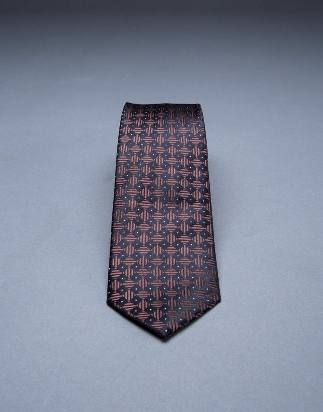 Brown - navy blue motif tie
