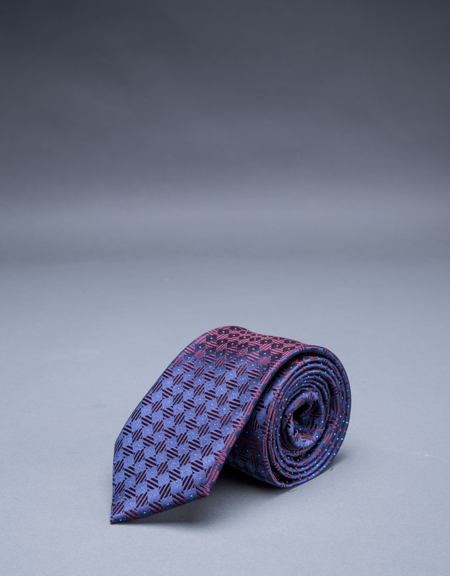 Burgundy-navy blue motif tie