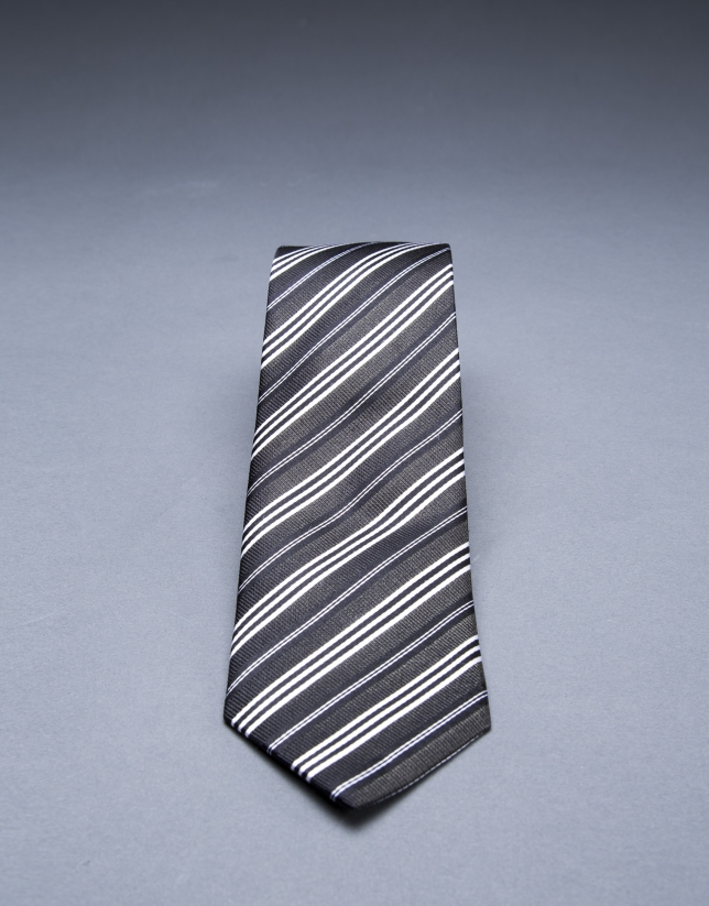 Cravate à multi rayures marron blanc