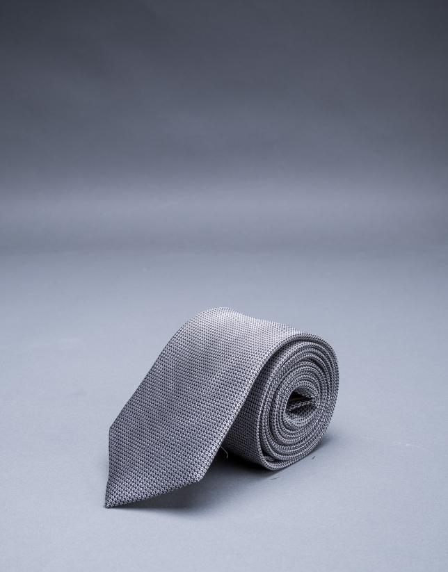 Cravate à micromotif noir blanc