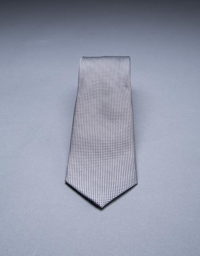 Corbata microdibujo blanco negro