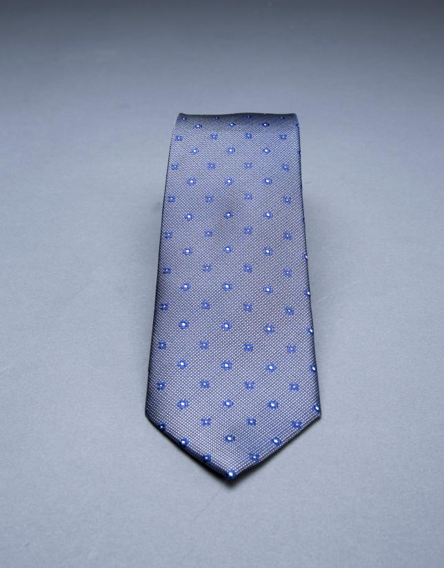 Cravate à motifs bleu gris