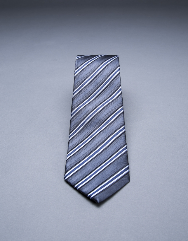 Blue - gray striped tie