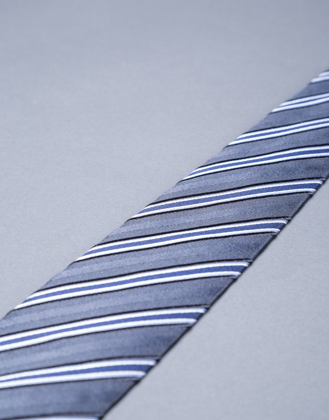 Blue - gray striped tie