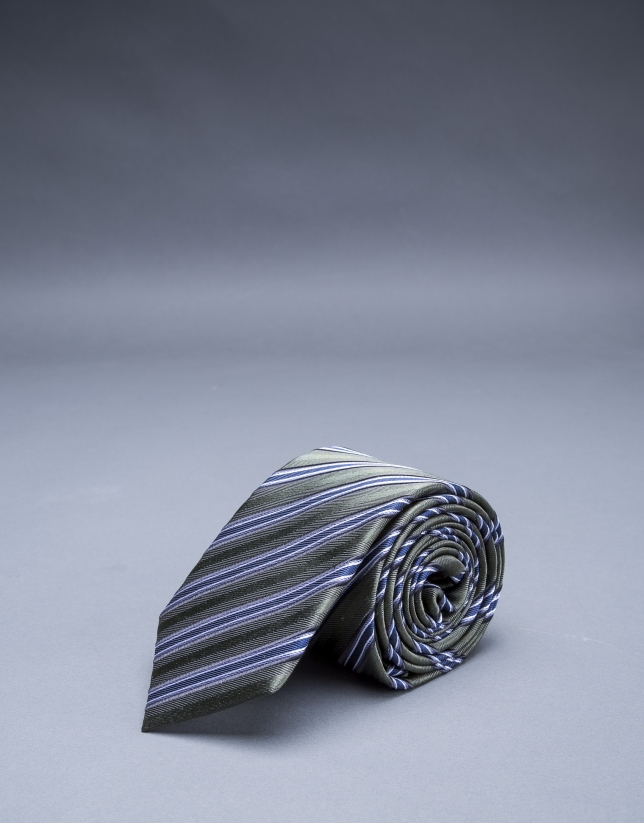 Corbata multirayas kaki azul