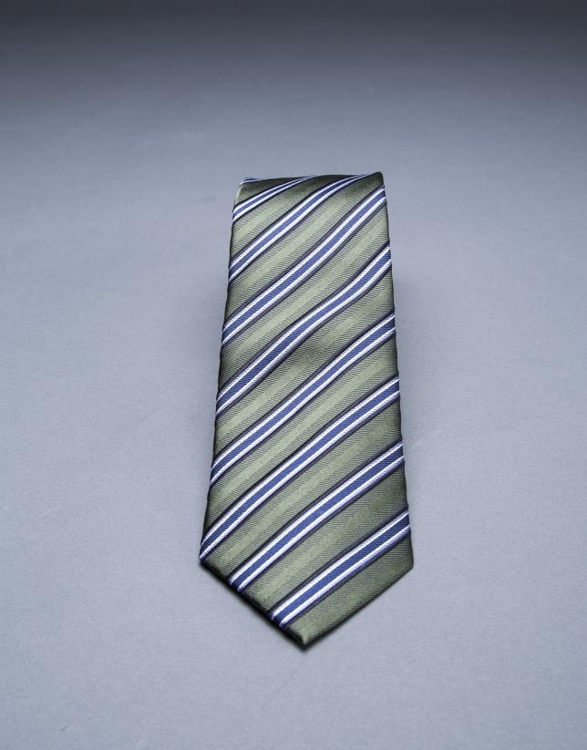 Cravate à multi rayures bleu kaki