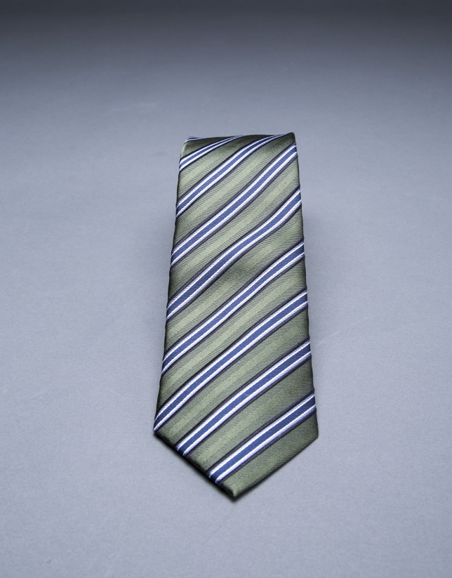 Khaki - blue striped tie