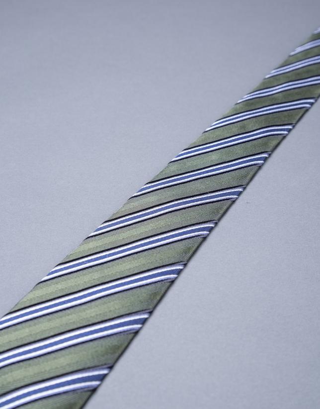 Khaki - blue striped tie