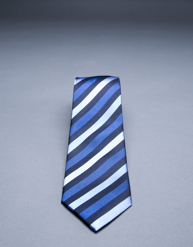 Blue diagonal striped tie