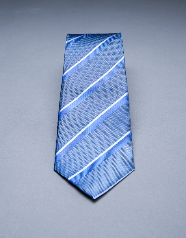 Corbata multirayas gris azul