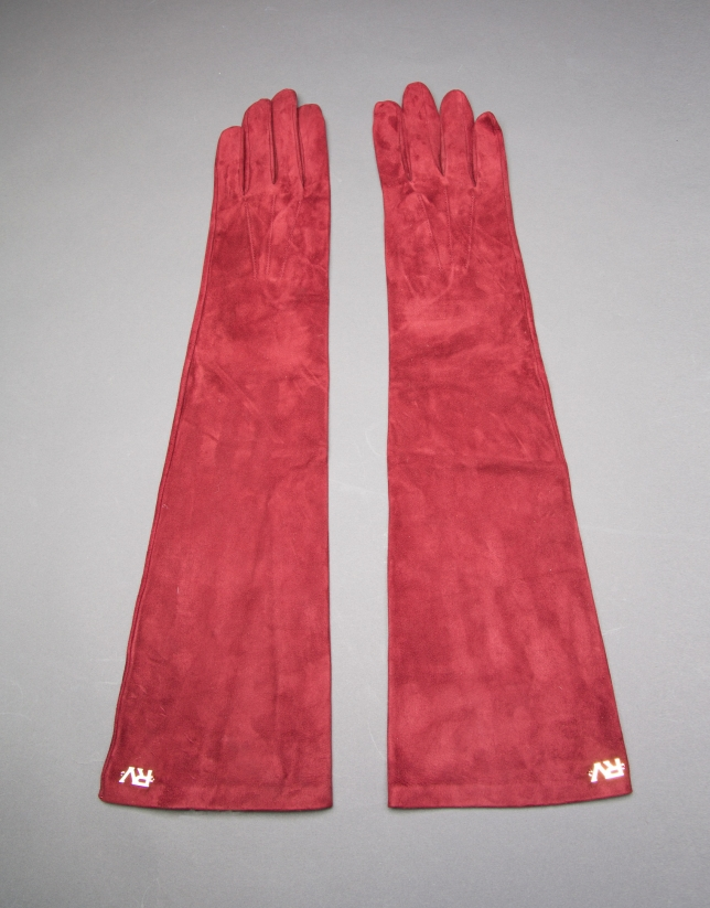Long burgundy suede gloves