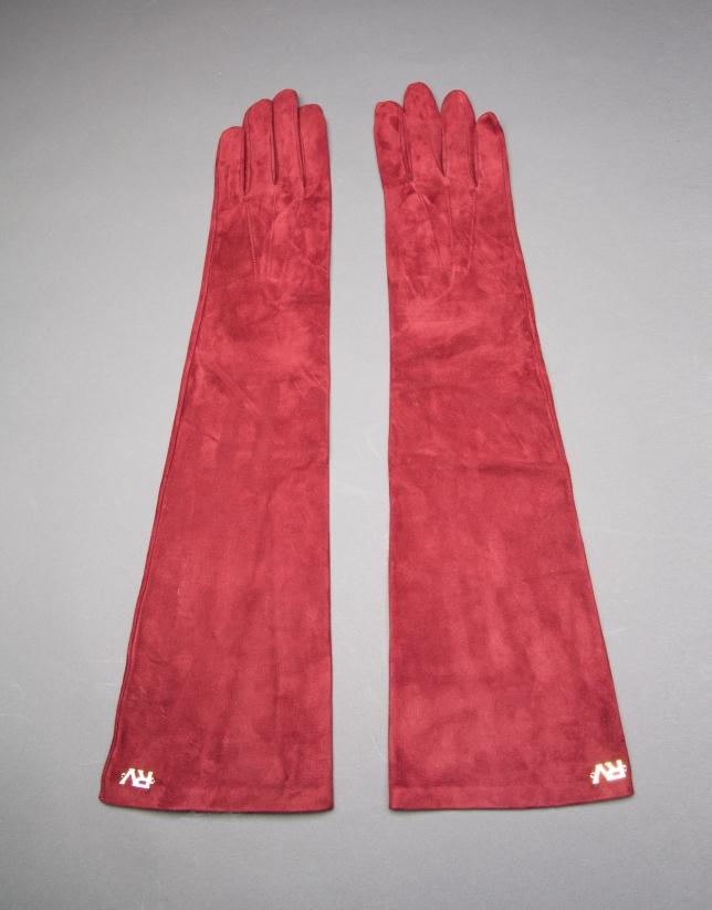 Long burgundy suede gloves