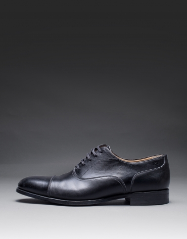 Black leather English shoe