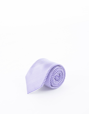 Blue and mauve striped tie
