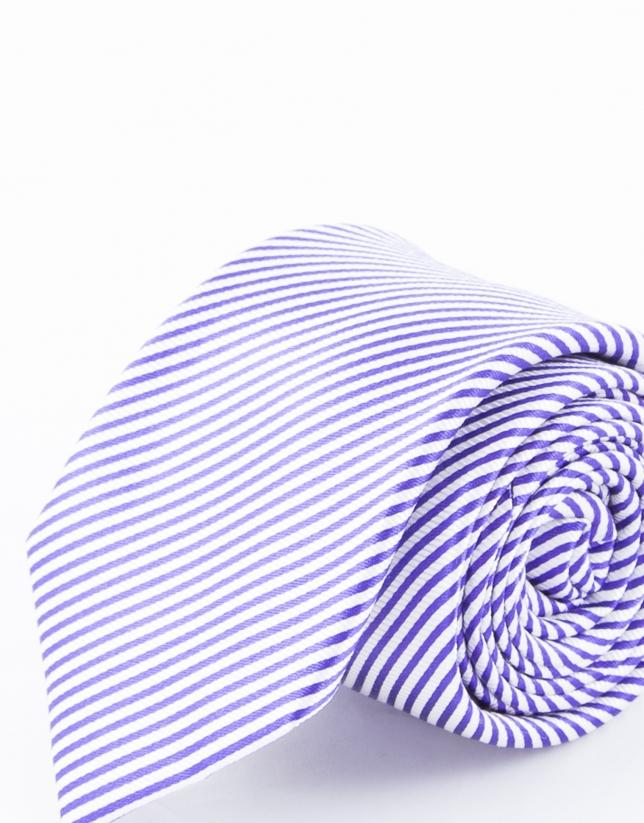 Blue and mauve striped tie