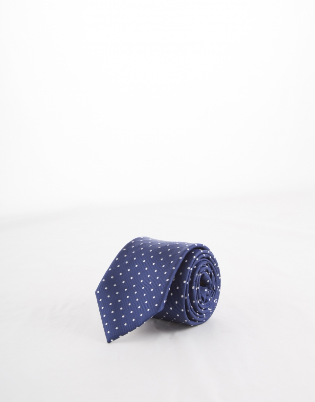 Blue tie with white dots