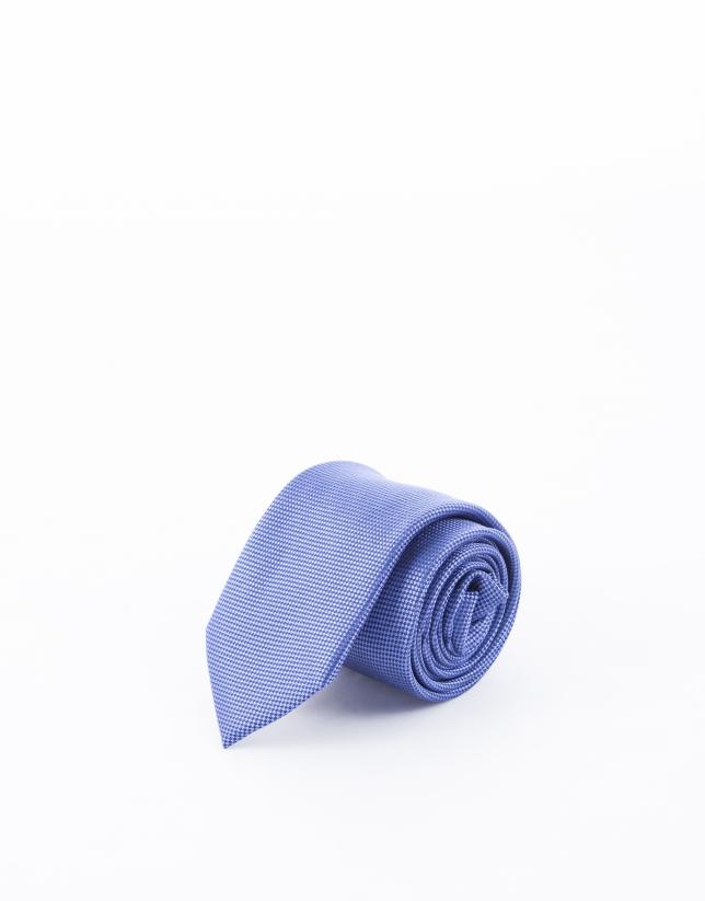 Blue microprint tie