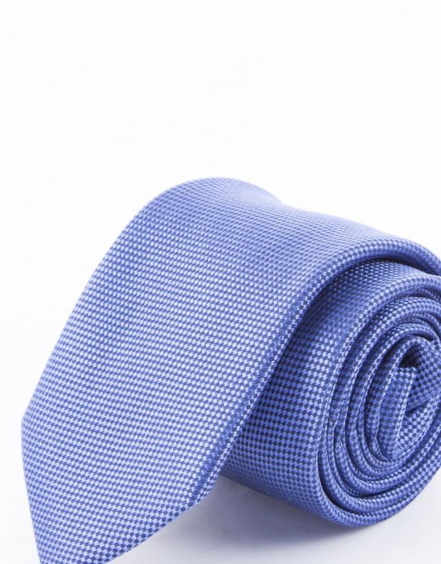 Cravate à micro-motifs aux tons bleus